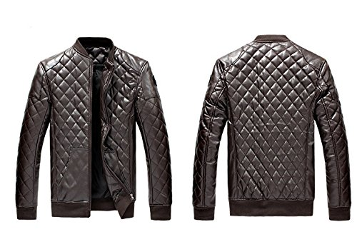 BOMOVO Herren Lederjacke Herbst Langarm Reißverschluss Jacket Warm Bikerjacke Mantel Kaffee