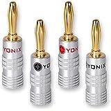 Yonix 4 x  High End Bananenstecker 24K vergoldet für Kabel bis 6mm²