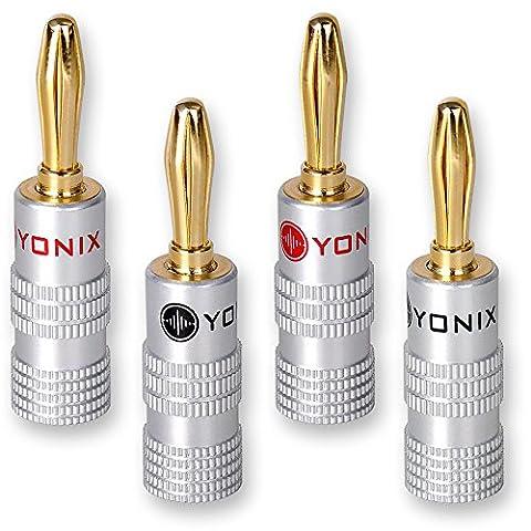 Yonix fiches bananes plaqués or 24 carats pour câbles jusqu'à 6 mm²