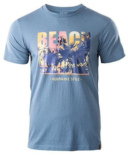 AquaWave T-Shirt Sommershirt Strandshirt Für Herren - Perfekt Für Strand, Schwimmbad und Freizeit - Baumwolle - Beach, Blau, M