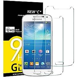 NEW'C Lot de 2, Verre Trempé pour Samsung Galaxy S4 Mini Film Protection écran - Anti Rayures - sans Bulles d'air -Ultra Résistant (0,33mm HD Ultra Transparent) Dureté 9H Glass