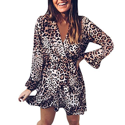 Longra Herbstmode Kleider Damen Sexy V-Ausschnitt Leopard Kleider Rüschen Saum Langarm Partykleider...