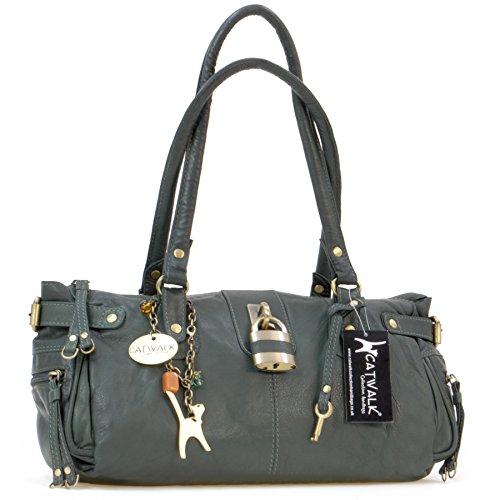 """Lederhandtasche """"Chancery"""" von Catwalk Collection - Größe: B: 34,25 H: 16 T: 9 cm Grün"""