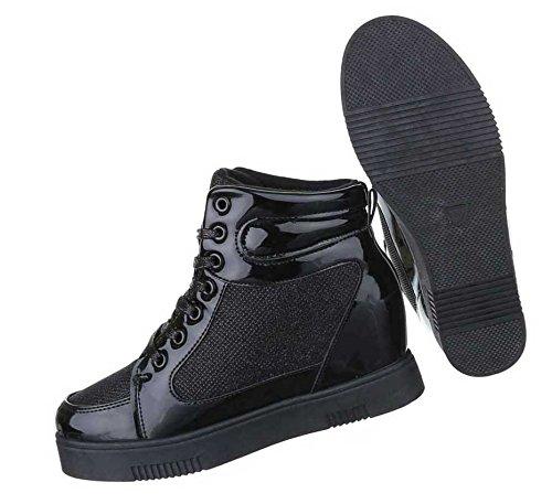 Damen Stiefeletten Schuhe Keil Wedges Boots Schwarz 36 37 38 39 40 41 Schwarz