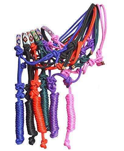 SIE Nylon Pferd geflochtenes Seil Halfter mit Perlen besetztes Nasenriemen Führleine, Rose -