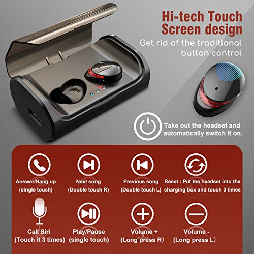 HolyHigh Bluetooth Kopfhörer Kabellos In Ear Sport Joggen Ohrhörer Bluetooth 5.0 mit 3000mAh Batterie 120 Stunden Spielzeit IPX6 Wasserdicht Mikrofon für iOS Android Samsung Huawei HTC - 7