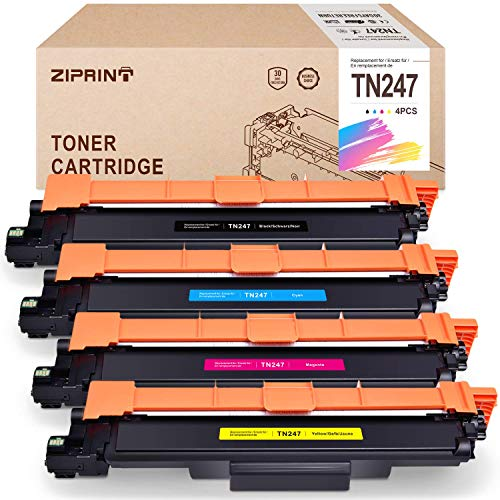 ZIPRINT 4 Multipack Toner MIT Chip Compatible Brother TN247 TN-247 pour Brother HL-L3210CW L3230CDW L3270CDW MFC-L3710CW L3730CDN L3750CDW L3770CDW DCP-L3510CDW L3517CDW