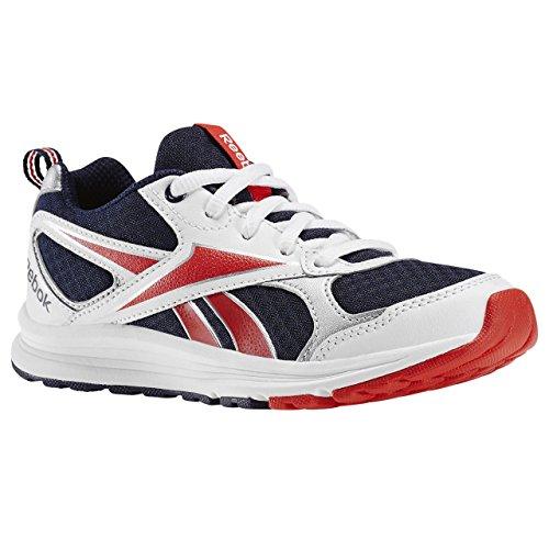 Reebok  Almotio RS, Chaussures souples pour bébé (fille) blanc/bleu marine/rouge vif/argent