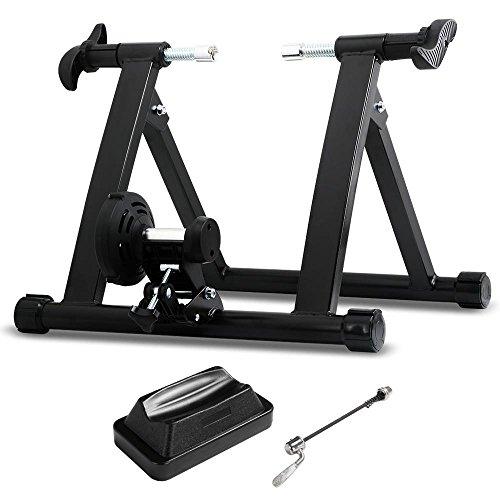 Yaheetech Fahrrad Rollentrainer magnetisch Heimtrainer für 26-28 Zoll Schnellspanner & Vorderradunterlage