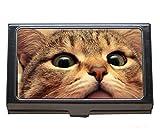 Porte-cartes de visite en acier inoxydable, étui pour cartes de visite Cat pour hommes et femmes...