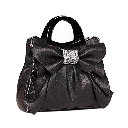 QPALZM QPALZM 2017 Neue Frau Bogen Handtasche Süße Damen Tasche Mode Schultertasche Dame Messenger Bag Black