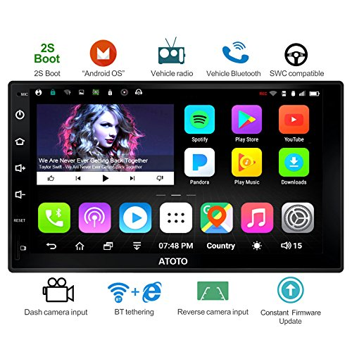 ATOTO A6 Universal 2 Din Android Auto Navigation Stereo mit Dual Bluetooth - Standard A6Y2710S 1G/16G Auto Unterhaltung Multimedia Radio,WiFi/BT Tethering Internet, Unterstützung 256G SD &mehr Universal Bluetooth Stereo