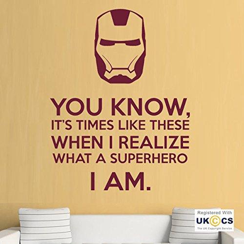 (Iron Man Superhelden-Film Jungen-Schlafzimmer-Wand-Kunst-Aufkleber-Abziehbilder Vinyl-Hauptraum Schlafzimmer Jungen Mädchen Kinder Erwachsene Heim Zitate Küche Badezimmer Wandaufkleber)