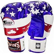 Twins Special Fancy Guantes de boxeo de piel de Velcro en la muñeca tamaño 14onzas)