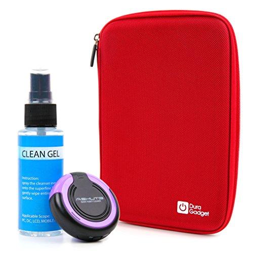 Preisvergleich Produktbild DuraGadget EVA Hartschalen Etui | Case - Rot + Reinigungsroboter | Cleaning Robot | Bildschirmreinigung - Lila - für Ihre Nintendo 2DS XL Spielkonsole