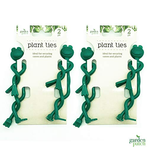 Garden Patch 4pk Frog Garden Ties | Quirky Green Plant Twist Ties Ideal for Securing Canes and Plants | Includes Gardening Ebook from