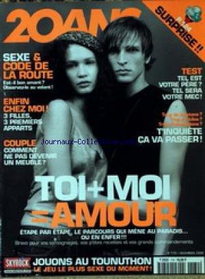 20 ANS [No 170] du 01/11/2000 - SEXE ET CODE DE LA ROUTE - 3 PREMIERS APPARTS - COUPLE - TOI ET MOI - AMOUR. par Collectif
