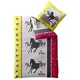 CelinaTex Kinder Bettwäsche 135x200 Biber Kids Bettbezug kuschelig warme Winter Biberbettwäsche Baumwolle, 80x80 Kissenbezug Mädchen-Motiv Pferd Pony My Horse 0003063