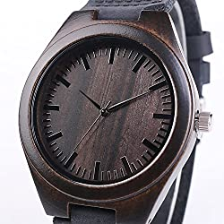 iMing Analog Quartz Black Leather Handmade Sandalwood Natural Wood Watch