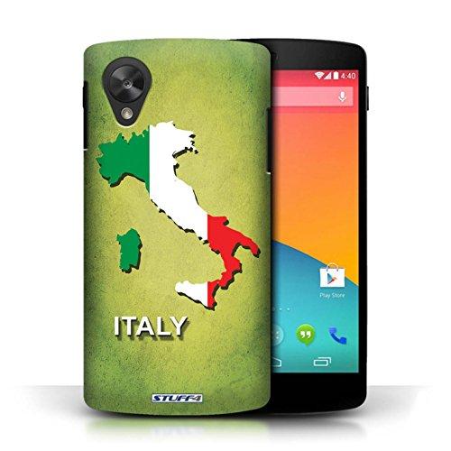 Coque en plastique pour LG Google Nexus 5/D821 Collection Drapeau Pays - Grèce/Grecque Italie/Italien