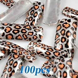100 Stunning Leopard Style False French Acrylic Nail Art Tips NEW by 350buy