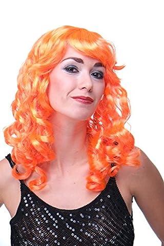 WIG ME UP - Faschingsperücke Perücke Karneval Locken Lang Pony Vamp Diva Orange LM-142-PC24
