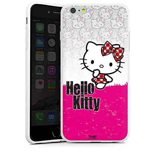 Apple iPhone 6s Tasche Hülle Flip Case Hello Kitty Merchandise Fanartikel Pink Punk Silikon Case weiß
