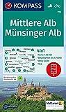 Mittlere Alb, Münsinger Alb: 4in1 Wanderkarte 1:50000 mit Aktiv Guide und Detailkarten inklusive Karte zur offline Verwendung in der KOMPASS-App. ... 1:50 000 (KOMPASS-Wanderkarten, Band 779)