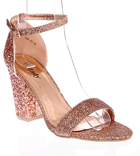 74002a40077 New Women s Ladies Block Heel Ankle Strap Glitter Peep Toe Party Sandal  Shoes 3-8 (UK 6 EU 39