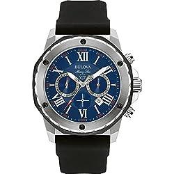 Bulova Marine Star 98B258 - Reloj de pulsera de diseño para hombre - Función de cronógrafo - Correa de goma - Resistente al agua - Esfera azul