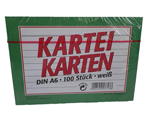 Idena 100420214 - Cartoncini per schedario, formato A6, 100 pezzi, a righe, colore bianco