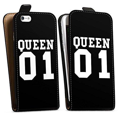Apple iPhone 6s Hülle Case Handyhülle Queen 01 Königin Pärchen Downflip Tasche schwarz