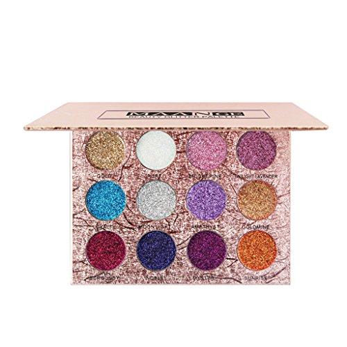 MagiDeal 12 Farben Glitter Lidschatten Make up Augenschatten Eyeshadow Palette