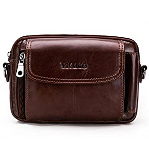51dJFYB%2BTRL. SS300  - Leathario Bolso Cinturón de Cuero Riñonera para Hombre-Pequeña Bolsa de bandorela-Funda para 4~6 Pulgada Phone (Marrón Amarillo)