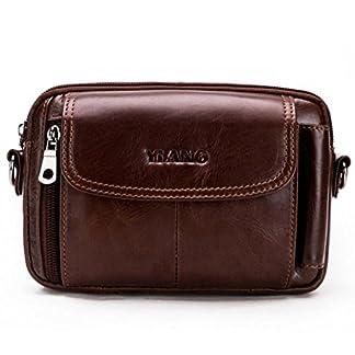 Leathario Bolso Cinturón de Cuero Riñonera para Hombre-Pequeña Bolsa de bandorela-Funda para 4~6 Pulgada Phone (Marrón Amarillo)