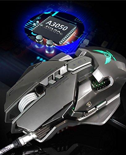 Kabel Sieben Gear DPI Variable Speed Verstellbar Maus Sechs Farbe Hintergrundbeleuchtung Makro Definition Programmierung Spiel Maus (Farbe: Gray) (International Td-6)