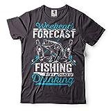 Silk Road Tees Pêche T-Shirt Pêche Hommes drôle de pêche Prévisions T-Shirt Camping T X-Large Rose