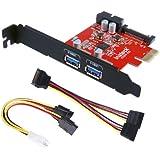 KTU3FR-2O2I Inateck Carte Contrôleur PCI-E Express 2 ports USB 3.0 port interne vers PC, SATA pour Molex convertisseur alimentation (4 broches) rajout des prises rapide