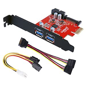 Inateck PCI-E to USB 3.0 2-Port PCI Express Card and 15-Pin Power Connector, Mini PCI-E USB 3.0 Hub Controller Adapter, with Internal USB 3.0 20-PIN Connector - Expand Another Two USB 3.0 Ports - [ Include with A 4pin to 2x15pin Cable + A 15pin to 2x 15pin SATA Y-Cable ]