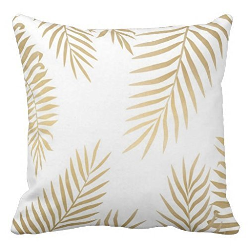 Bgejkos Custom Soft Comfortable Gold Palm Leaves Pillowcase Pillow Cases (One Side) Palm Side Case