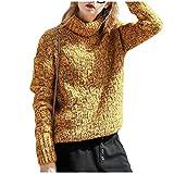 Damen Rollkragenpullover Vintage Klassiker Sweater Herbst Winter Pullover Classic Normallacks Langarm Hoher Kragen Dicke Warme Strickpullover Frauen (Color : Gelb, Size : One Size)
