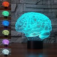 3D gehirn biologie abbildung Illusions Lampen, Tolle 7 Farbwechsel Acryl berühren Tabelle Schreibtisch-Nachtlicht mit USB-Kabel für Kinder Schlafzimmer Geburtstagsgeschenke Geschenk