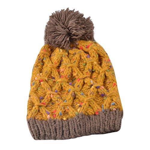Culater® Donne inverno cappelli di moda Knit caldo Beanie Cappellino cappello Hemming (Giallo)