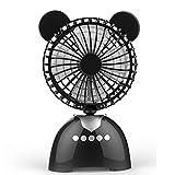 USB-Ventilator-Schlafzimmer-Schlafsaal-Büro-Im Freien Drahtloser Bluetooth-Sprecher-Ventilator-Tragbarer Bären-Musik-Ventilator-Wieder Aufladbare Kompression Haltbare Anpassung Mit 3 Geschwindigkeiten -13.7 * 7.8 * 22Cm,Black