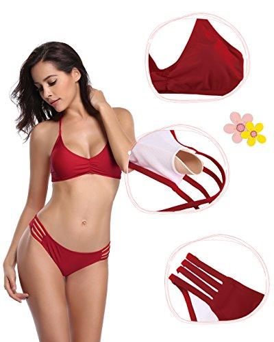 SHEKINI Damen Neckholder Gepolstert Bandage Bikini Raffung Oberteil Push up Bikini Set Bademode Badeanzüge Tankini Weinrot