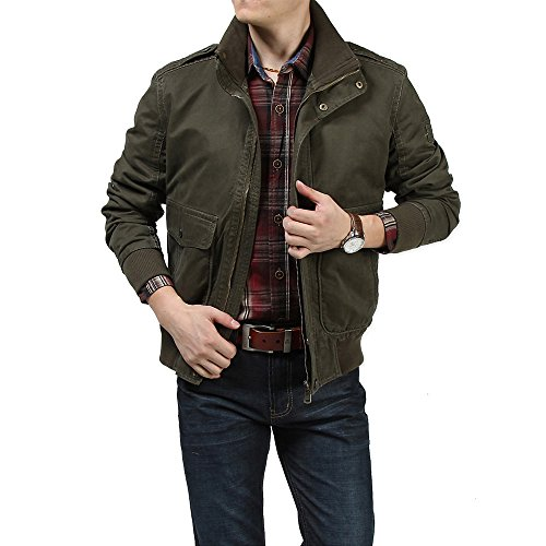 Vogvigo Herren Jacke übergangsjacke Baumwolle Mantel Casual Frühling Herbst Jacke Militär-Grün