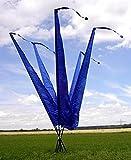 DEKOVALENZ - Balifahnen-Stoff NUSA DUA mit Rauten-Spitze, Versch. Farben+Längen, Farbe:Blau, Fahnenlänge:3 Meter