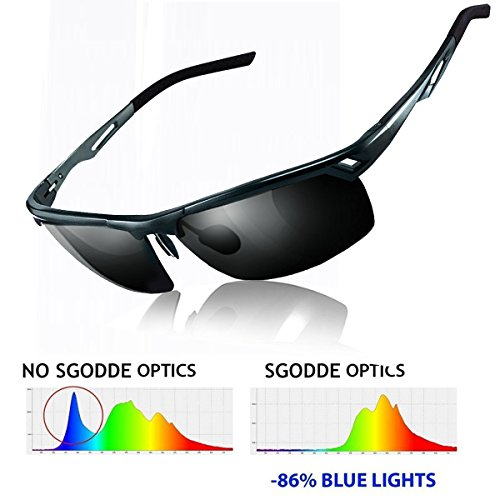SGODDE Unisex Sportbrille, Polarisiert Sonnenbrille, Nacht Vision Blendschutz Brille, UV400-Schutz Fahrbrille Radbrille mit gelben Gläsern für Damen und Herren (Schwarz)
