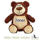 Stofftier Teddy Bär mit NAMEN - Kuscheltier Baby Kinder Geschenk personalisiert mit Wunschnamen in dunkelblau