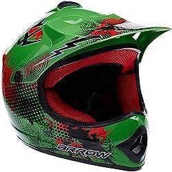 "Armor · AKC-49 ""Green"" (green) · Casco Moto-Cross · Enduro Scooter NINOS Off-Road Quad Racing motocicleta · DOT certificado · Click-n-Secure™ Clip · Bolsa de transporte · XS (51-52cm)"